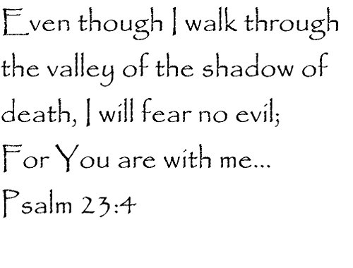 Tapestry Of Truth - Psalm 23:4 - TOT120 - Wall and home scripture, lettering, quotes, images, stickers, decals, art, and more! - Even though I walk through the valley of the shadow of death, I wil... (Valley Of The Shadow Of Death Quote)