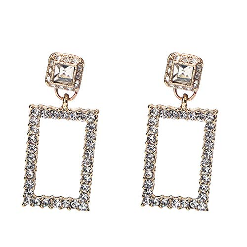 - 18K Gold Plated Elegant AAA Cubic Zirconia White Rhinestones Rectangle Charm Tassel Drop Stud Earrings