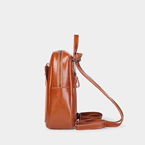 color Size 4 Tamaño One Gran Capacidad Doble Para De Cuero Mochila Ocio 1 Viaje Mujer Uso xFZv4Oqw6