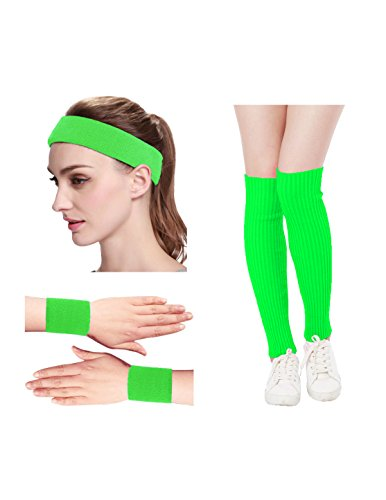 80s Neon Clothing (Kimberly's Knit Women 80s Neon Pink Retro for Running Workout Headband Wristbands Leg Warmers Set (Free, Green))