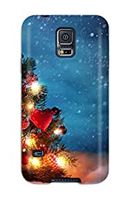 Galaxy S5 Case Bumper Tpu Skin Cover For Christmas Tree Outside Snow Night Decoration Lights Xmas Santa Claus Holiday Christmas Accessories