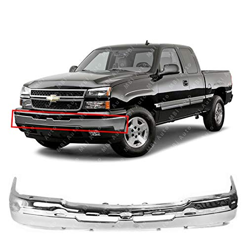 (MBI AUTO - Chrome Steel, Front Bumper Face Bar for 2003-2006 Chevy Avalanche & Silverado 1500/2500 & 2007 Silverado Classic Pickup, GM1002416)