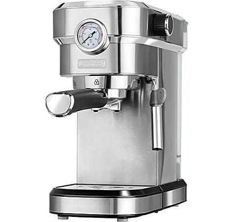 MPM MKW-08M Cafetera Express 20 Bares, para Realizar café Espresso y Cappuccino, vaporizador para espumar Leche, calienta Tazas,Acabado Acero Inoxidable, depósito de Agua 1,2 L Desmontable, 1350W: Amazon.es: Hogar