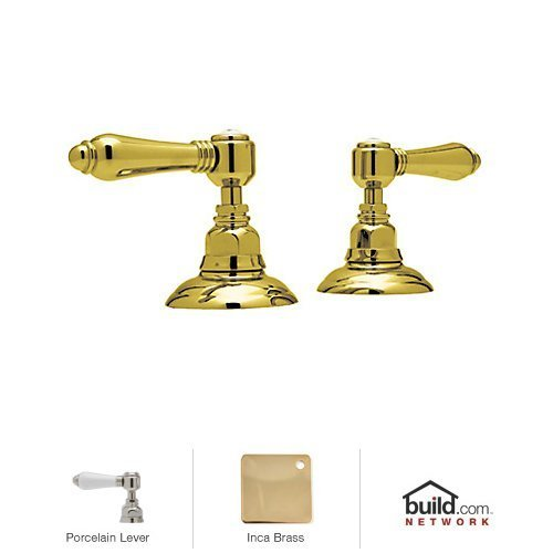 Rohl A7422LPIB BA700X-APC Country Bath Pair of 3/4'' Hot and Cold Sidevalves Only in Inca Brass with Porcelain Levers by Rohl