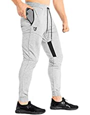 ZENWILL Mens Tapered Workout Running Pants, Jogger Training Sweatpants Slim Fit with Zip Pockets
