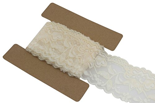 Lace Fabric Stretch Elastic JLIKA Brand 2.25 inches Wide Trim Lace for Headbands Garters 20 Yards (Ivory) ()