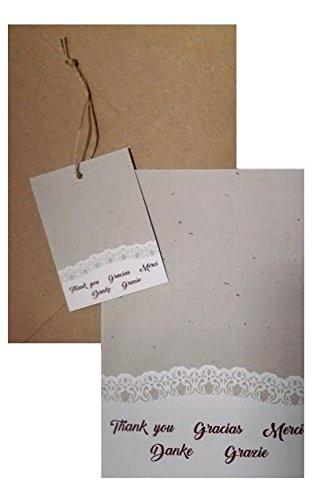 Conjunto Gracias-Thanks-Merci-Grazie-Danke Tarjetones con sobres y etiquetas colgantes