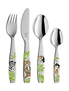 Zwilling Jungle - Juego cubertería Infantil 4 Piezas con Esmalte, en Acero Inoxidable 18/10: Amazon.es: Hogar
