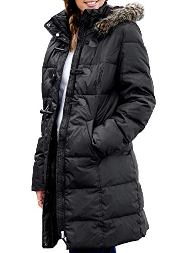 Sidefeel Women Hooded Fur Trim Zip Up Front Winter Long Quilted Coat Medium Black