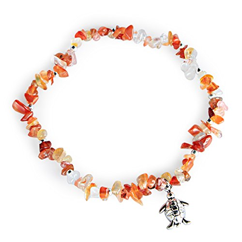 Me&Hz Turtle Charm Anklet Nature Agate Orange Stone Beach Ankle Bracelets Woman Girls Stretch Anklets Adjustable ()