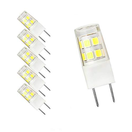 - G8 Bi-pin LED Bulb 120V Daylight 6000K 50W Equivalent T4 G8 Base Halogen LED Replacement Bulb for Under-Cabinet Accent Puck Light Desk Lamp Lighting (Pack of 5) (Daylight White)