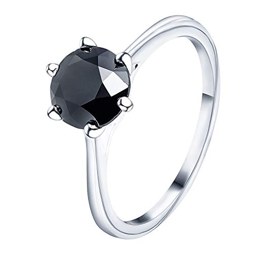 - Prism Jewel Six Prong Set 1.50Ct 6.7 mm Black Diamond Solitaire Engagement Ring, 10k White Gold, Size 9