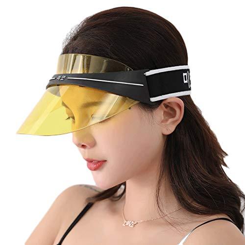 (UV Protection Transparent Shield Visor Sun Hat Head Band Style Sunglasses Cap (Yellow, OneSize))