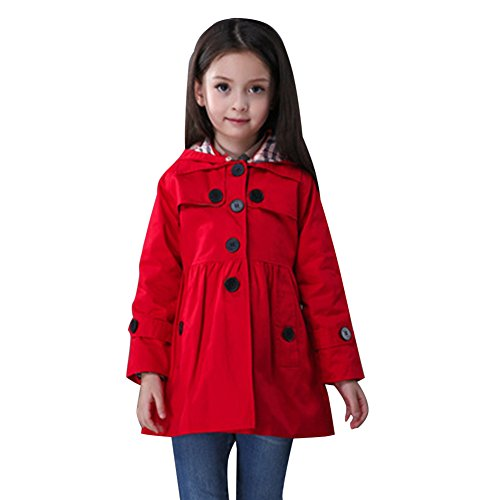 FREE FISHER Little Girls Wind Coat With Detachable Hood Red 110/3-4 (Free Coat Patterns)