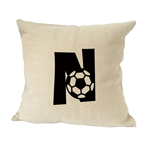 ''N '' Soccer Initial Monogram Letter N Bed Home Decor Faux Linen Pillow Cover by Style in Print
