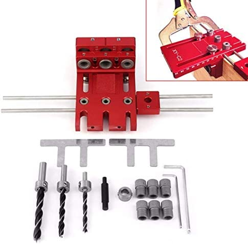 LONGJUAN-C Woodworking 3 in 1 Woodworking Drill Guide Kit Locator Doweling Jig Joinery System Hole Puncher Set Aluminium Alloy Power Drill