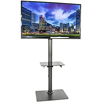 VIVO Black Steel And Glass Shelf TV Presentation Floor Stand LCD LED Plasma  Flat Screen Stationary