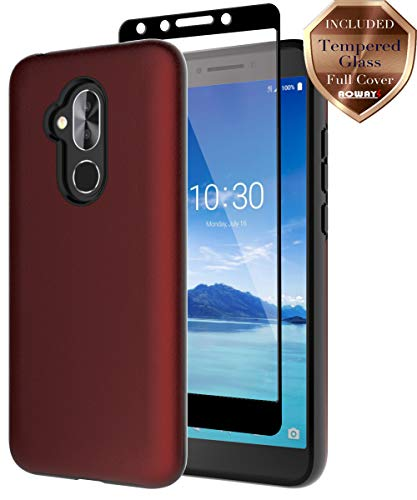 T-Mobile Revvl 2 Plus 2018 Case, Alcatel 7 Case, Alcatel 7 Folio Case,  Aoways Tempered Glass Screen Protector, Hard Back Cover + Soft TPU  Shockproof