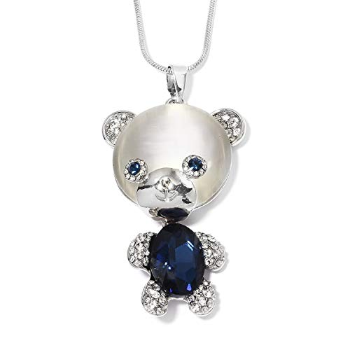 (Shop LC Delivering Joy Cubic Zirconia CZ Silvertone Teddy Bear Chain Pendant Necklace for Women Jewelry Gift)