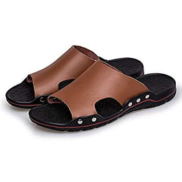 9d5a6458c29 Image Unavailable. Image not available for. Color  Culturemart 2019 Fashion  Genuine Leather Men Slippers ...