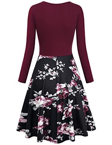 KASCLINO-Womens-Floral-Printed-Dress-A-Line-Long-Sleeve-V-Neck-Elegant-Dress-with-Pockets