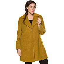 Ulla Popken Women's Plus Size Trendy Bright Yellow Wool Blend Coat 713776