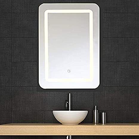 LED Bathroom Mirror, Auffel Lighted Rectangle With Touch Wall Mounted  Makeup Light, Modern