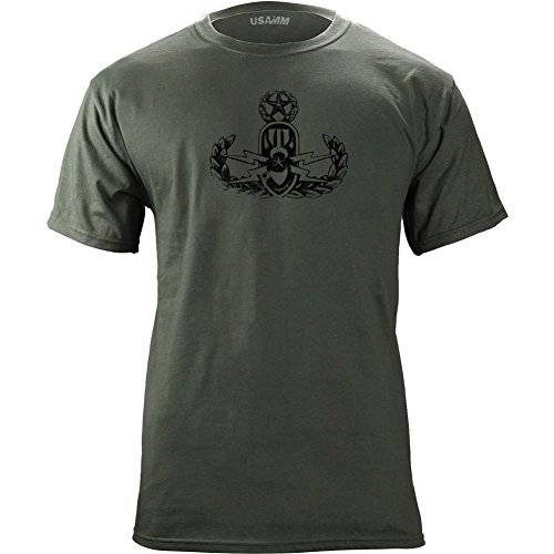 Vintage Army EOD Master Badge Subdued Veteran T-Shirt (XL, Green)