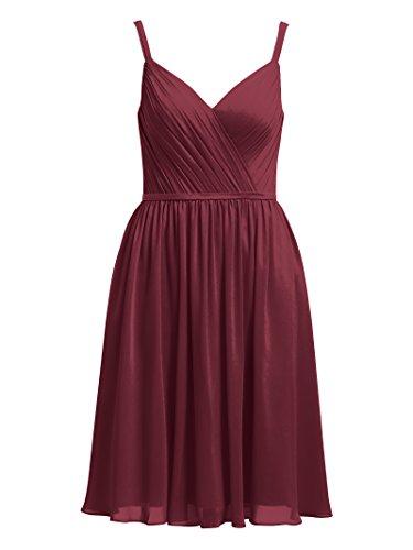 Party Alicepub Short Dresses Burgundy Evening Spaghetti Bridesmaid Chiffon Dress Cocktail xaYqHZx