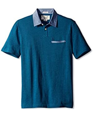 Mens Birsdeye Pique Polo with Chambray Detai Long Sleeve Heritage