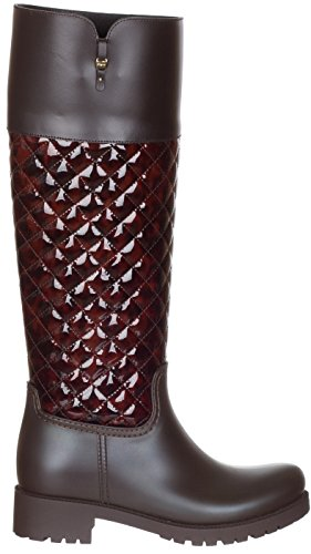 Brown Ferragamo Boots Women's Rubber Brown Raphael Knee High Shoes Leather Quilted Salvatore PdCqUwd