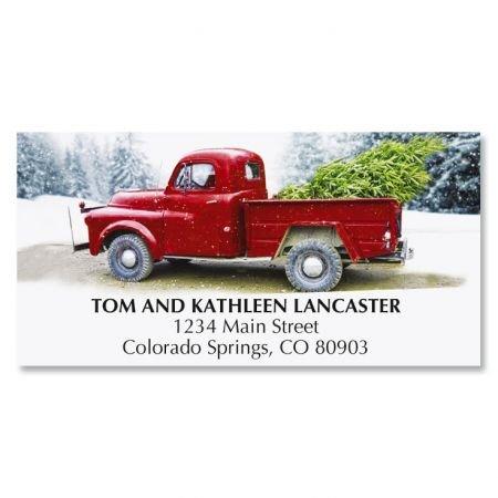 Winter Road Christmas Address Labels- 48 Classic Truck, Self-Adhesive,Flat-Sheet Return (Free Christmas Address Labels)