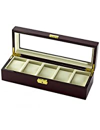 5 Watch Box Case in Cherrywood w/ Locking Lucite Display Top