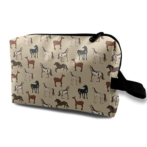 Horse Cosmetic Bags Makeup Organizer Bag Pouch Zipper Purse Handbag Clutch Bag]()