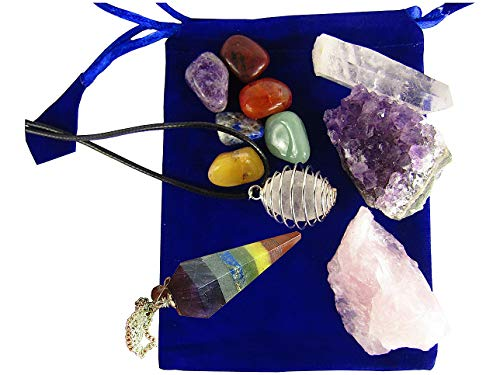 CircuitOffice Natural Crystals and Chakra Gemstone Set: Chakra Pendulum, Chakra Stones and Necklace Set, Natural Rose Quartz, Amethyst Specimen Cluster, and Quartz Point ()