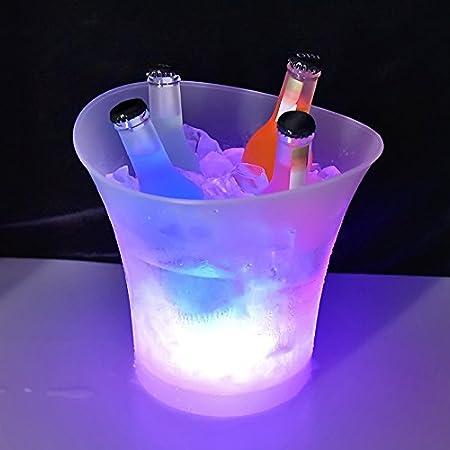 Colorido LED Luz Hielo Cubo de Champán,LED Ice Bucket 5L de alta capacidad 6 colores cambiantes Champagne Vino Bebidas Cerveza Hielo Enfriador Curva Diseño Bar Club Pub