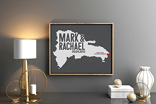 Dominican Republic or Any State Map Print with Couple