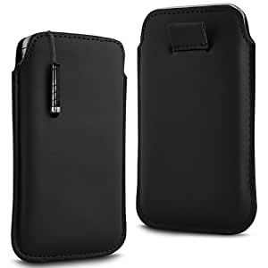BLACK PREMIUM PU LEATHER PULL FLIP TAB CASE COVER POUCH & HIGH SENSITIVE MINI STYLUS PEN FOR BLACKBERRY 9100 PEARL BY N4U ACCESSORIES