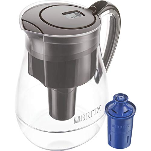 Brita Large 10 Cup Water Filter Pitcher with 1 Longlast Filter, Reduces Lead, BPA Free - Monterey, Black