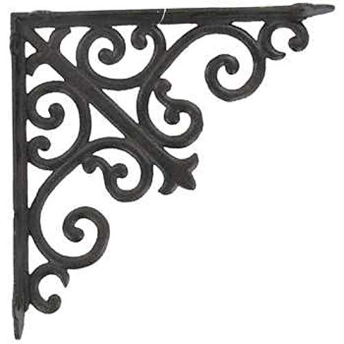 Victorian Bracket - Aunt Chris' Products - Lot/Set of 2 - 10 Inch - Thick Victorian Shelf Bracket - Heavy Cast Iron - Scroll Design - All-Purpose Hanger - Dark Brown - Primitive Design - Indoor or Outdoor Use