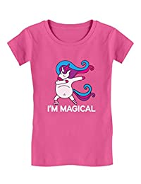 Tstars - Unicorn Dab I'm Magical Dabbing Unicorn Girls' Fitted Kids T-Shirt