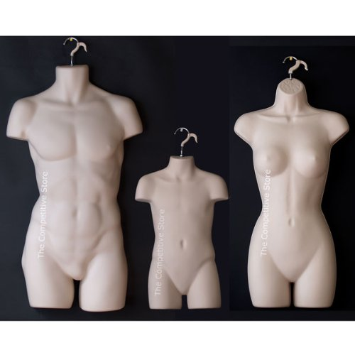 Male Female Dress And Child Mannequin Body Forms Set Of 3 Pcs - Flesh by The Competitive Store