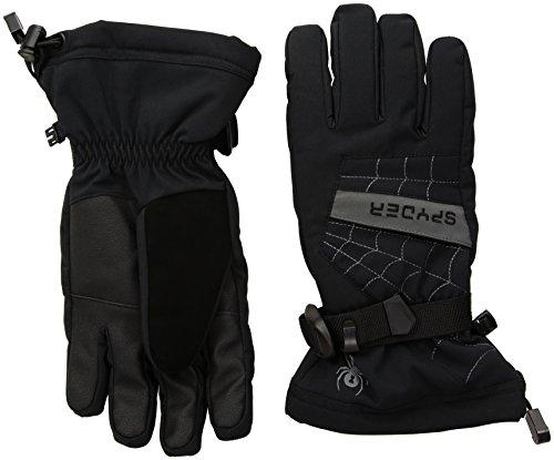 Spyder Kids Glove - Spyder Boy's Overweb Ski Glove, Black/Polar, Large