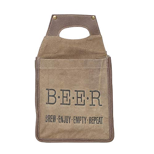 (Brew Enjoy Repeat Recycled Canvas and Leather 6 Pack Beer Caddy Bag)