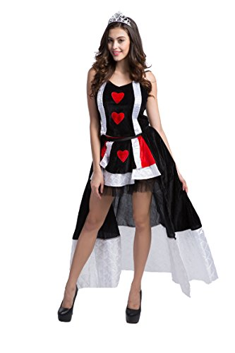 Honeystore Women's Heart Playing Card Queen Adult Halloween Costume Style 4 (Queen Of Hearts Card Adult Costume)
