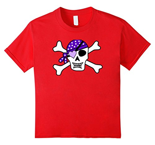 [Kids Cute Girls Jolly Roger Tshirt Black Pirate Flag 12 Red] (Epic Halloween Costumes For Men)