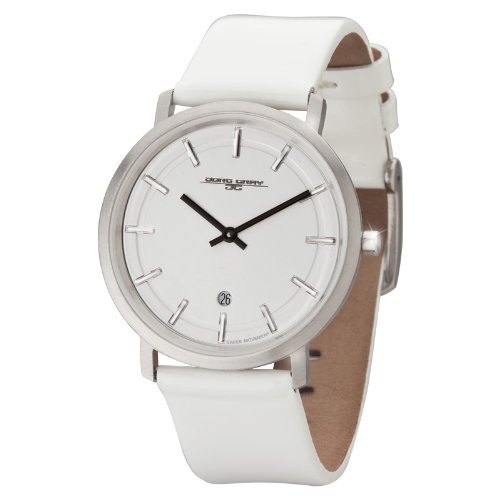 Jorg Gray JG2700-12 -Unisex Slim Watch, Swiss 2 Hand Mvt, Date Display, Leather Straps