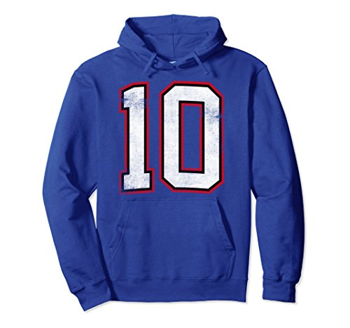 Unisex Number Ten 10 Hoodie XL: Royal Blue