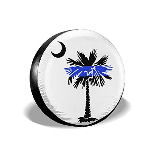 CIWO Cks Spare Tire Cover South Carolina Palmetto Moon Thin Blue LINE Waterproof Universal Fit Wheel Tire Protector for Jeep Trailer and Many Vehicle 14