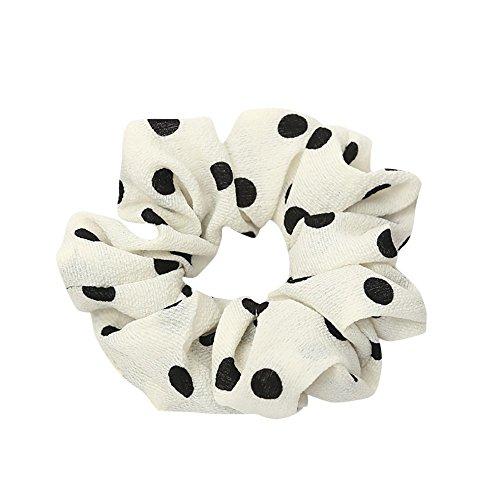 URIBAKE Women Elastic Hair Rope Ring Tie Dots Print Cloth Scrunchie Ponytail Holder Hair Band Headband White
